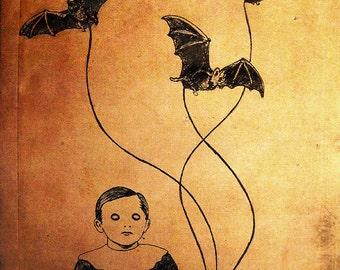 "Print 8x10"" - Happy Birthday - Dark Art Creep Cute Scary Bats Gothic Halloween Victorian Boy Kid Fun Vintage Balloons Nightmare"