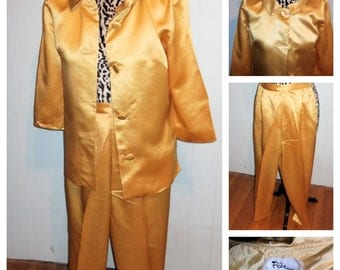 Late 50's/Early 60's Gold Cigarette Pants Suit - S