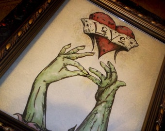 """Zombie Valentine's Day  Romantic  Print  """"The Kiss"""" Love  8x10 Art Print by Agorables Undead 8 x 10"""