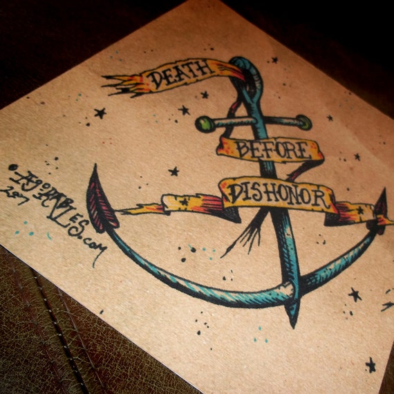 Go navy death before dishonor traditional for Traditional navy tattoos