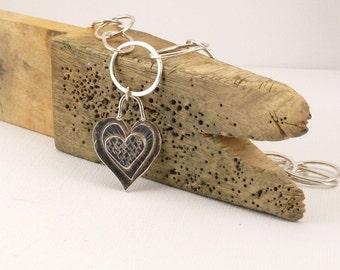 Heart Necklace, Valentine Heart Jewelry Heart Pendant Handmade Chain  OOAK