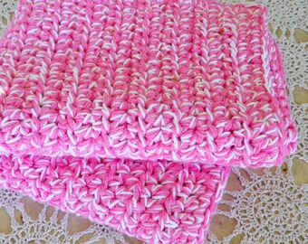 Pink Cotton Rug - Crochet Cotton Rug - Pink Cotton Bath Mat - Handmade Pink Rug - Throw Rug - Furniture Protector - Animal Blanket - Pet Rug