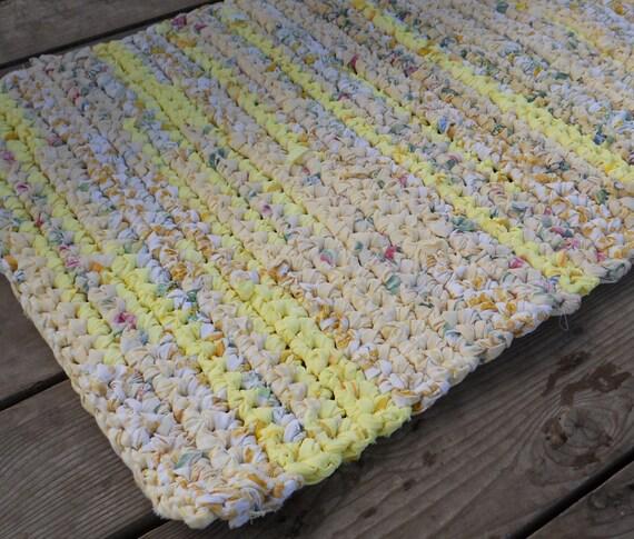Recycled Rag Crochet Floor Rug Bath Mat Upcycled Ecofriendly