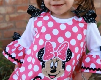 Pink Minnie Dot Minnie Mouse Face Applique Monogram A-line Dress and/or Matching Ruffled Tee