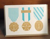 congratulations vintage medals letterpress greeting card gracious winner spirit of competition hard work commitment the champion