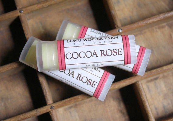 Cocoa Rose Lip Balm - One Tube Beeswax Shea Cocoa Butter Jojoba