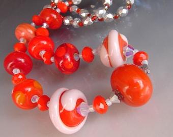 Glass Lampwork Beads, Handmade Beaded Necklace. Pendant, Jewelry Art . REDDER Than ORANGE by OPENSTUDIO. Openstudiobeads.