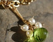 Peridot Pearls and Gold Necklace, 14K Gold Fill, Wire Wrapped, Gemstone, Clover, Shamrock, Irish