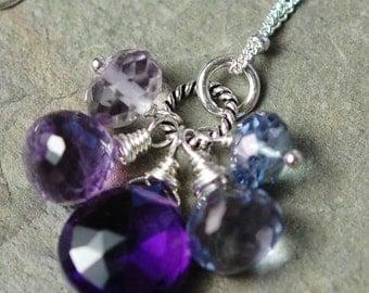 Gemstone Trinket Necklace, Grape, Purple, Blue Quartz, Amethyst, Sterling Silver, Wire Wrapped Charms