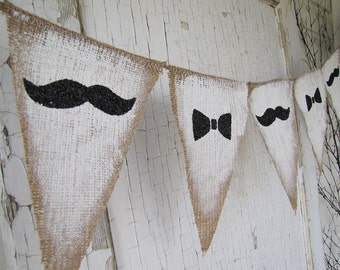 Mustache and Bowties Burlap Banner