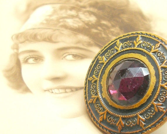 1890s Antique BUTTON ring, Victorian purple glass & metal on adjustable sterling band.