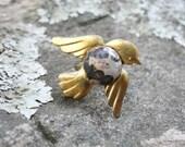 Golden Bird Ring Jasper and Brass
