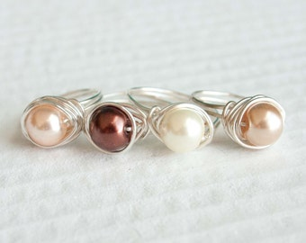 Brown Pearl Ring, Wire Wrapped Ring, Cream Pearl, Peach Pearl, Tan Pearl Bridesmaid Jewelry