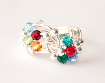 Grandmother Birthstone Ring, Mother's Ring, Swarovski Crystal, Wire Wrapped Ring