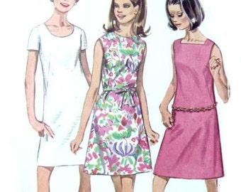 Vintage 60s Simplicity 7627 Belted Dress Sleeveless Short Sleeve Mini Dress A Line Mod Mad Men 34 Bust