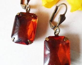 Vintage Madeira Topaz Transparent Glass Earrings, Handmade