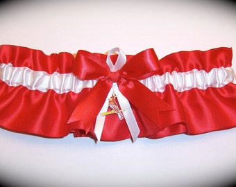 Saint Louis Cardinals Wedding Garter with charm St.   Handmade  Keepsake   Satin r-wrw