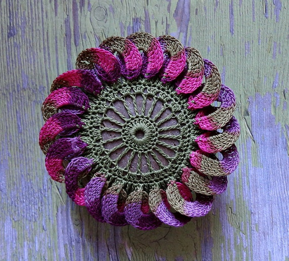 Crocheted Lace Stone, Flower, 3D,  Art Object, Original, Handmade, Table Decorations, Wedding, Purple, Green