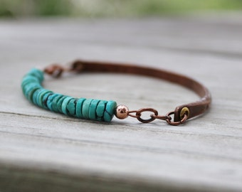 Mens or Womens Rustic Turquoise and  Antiqued Copper Boho Bracelet