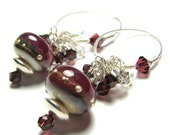 Burgundy dangle  bead earrings  lampwork beads sterling silver Swarovski crystals custom ear wires  -  BURGUNDY