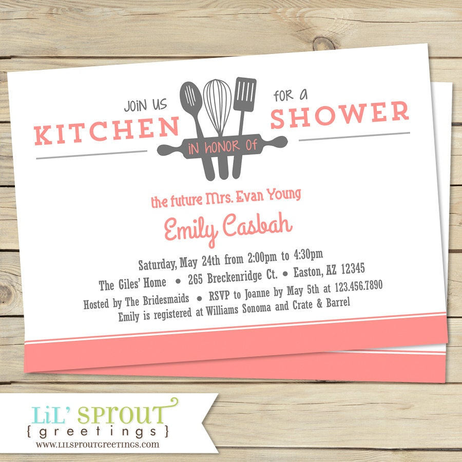 Kitchen Bridal Shower Invitation Customize Colors