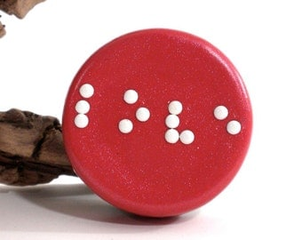 Small Round Braille Box - Personalized Braille Jewelry Box - Handmade Treasure Box - Red Pill Box - Personalized Initial Box - MADE to ORDER