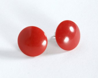 Red round vintage glass button earring