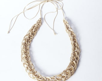 Bone coloured 'knitted' satin cord necklace - short