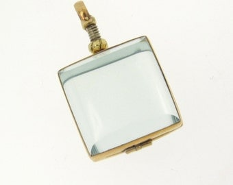 Clear Glass Square Locket Pendant, Gold - for Relics, Mementos, Keepsakes, Photos, or Anything Else Flat