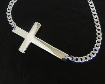 Men's Sideways Cross Necklace - On A Sterling Silver Curb Chain, Cross Necklace For Man