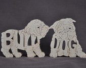 English Bulldog Puppy Dog Puzzle Wooden Toy Hand Cut with Scroll Saw