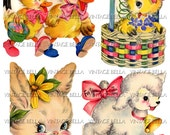 Vintage 1940s Easter Bunny, Chick, Lamb and Duck Greeting Card Digital Download 338 - by Vintage Bella