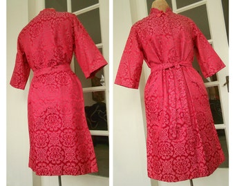 Vintage 1960s Red Damask Dress Size Medium - Styled by Tyrone - from the estate of Chicago Opera Singer