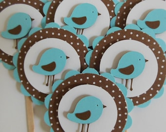 Bird Cupcake Toppers - Aqua and Brown Polka Dots - Baby Shower Decorations - Birthday Party Decorations - Set of 6