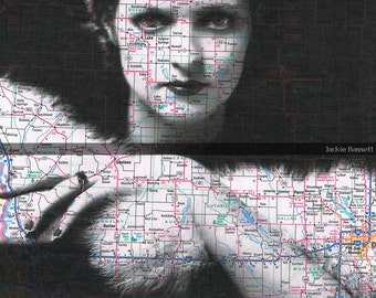 Collage.gift,Map Book Page.Beauty Woman.Vintage Photo,Paper .home deco.buy 3 get 1 FREE.affordable art.mixed media.mom.altered.atlas.travel