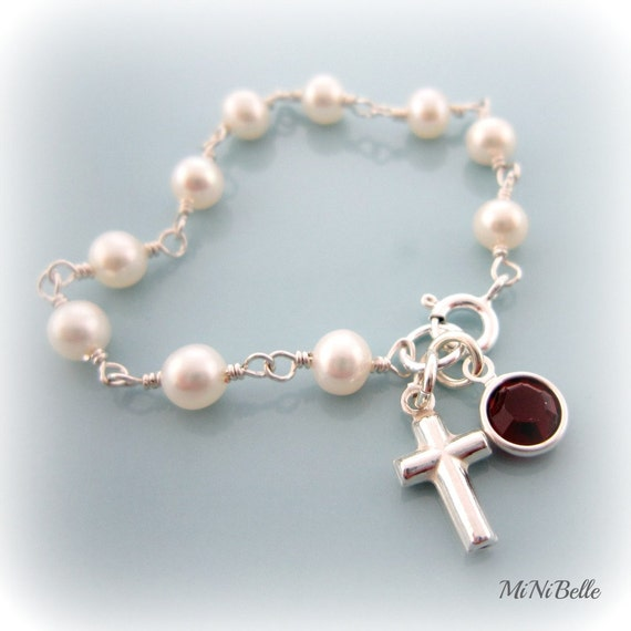 Baby Pearl Bracelet. Cross Bracelet. Rosary Bracelet. Personalized. First Communion. Baptism. Christening