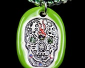Green Day of the Dead Skull Sparkle Surly Necklace with Swarovski Crystals and Peridot Rhinestone Chain