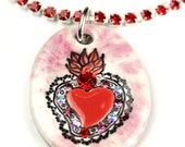 Pink Sacred Heart Sparkle Surly Necklace with Swarovski Crystals and Red Rhinestone Chain
