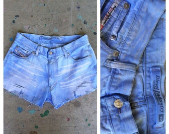 SALE.......Vintage 90s repurposed denim Diesel shorts / jean shorts / cut offs / grunge / repurposed / dip dyed DIY