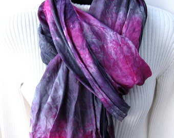 Infinity Scarf -Silk Scarf  Fuschia and Gunmetal Gray Womens Scarves Cowl Scarf Womens Infinity Scarves Unique scarf Fashion Gift for Mom