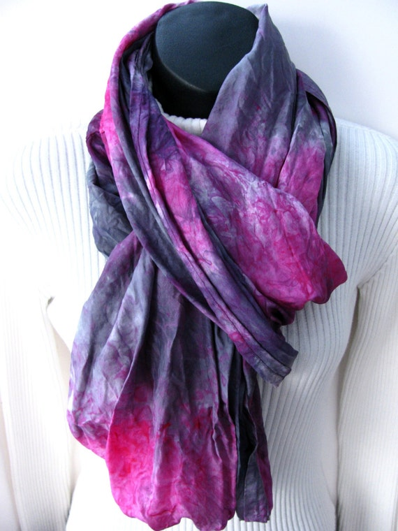 Infinity Scarf -Silk Scarf  Fuschia and Gunmetal Gray Womens Scarves Cowl Scarf Womens Infinity Scarves Winter Fashion Gift for Girlfriend