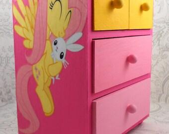 Custom Fluttershy Pink and Yellow Stash Jewelry Box