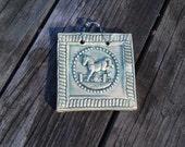 Mini Jumping Horse Ceramic Tile in Old Copper Green