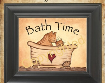 Bath Time Cat Print Unframed Primitive Folk Art Country Decor