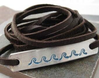 Waves Bracelet, Beach Bracelet, Waves Leather Wrap Bracelet, Surfer Bracelet, Ocean Bracelet, Nautical Bracelet, choose leather, metal type