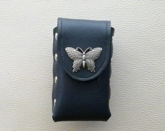 Leather Cigarette Case with Butterfly Concho, Navy Blue Leather Cigarette Case