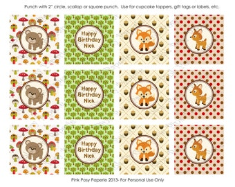 Printable Woodland Animals Birthday Cupcake Toppers
