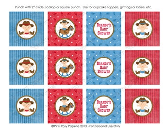 Printable Cowboy Baby Shower Cupcake Toppers