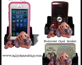 Bloodhound Dog Holder for Cell Phone IPod IPhone or Business Cards OOAK by Sally's Bits of Clay