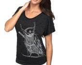 Zentangle Ninja Owl Tri-Blend Dolman woman T shirts